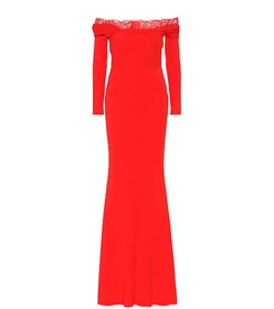 Alexander McQueen Lace-trimmed crêpe gown