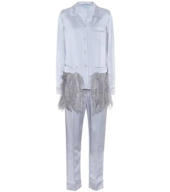 Prada Feather-trimmed satin pyjamas
