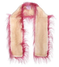 Prada Ostrich and mink fur scarf
