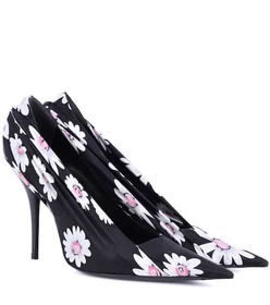 Balenciaga Floral-printed satin pumps