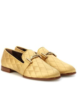 Tod's Double T quilted satin loafers