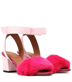 Givenchy Leather and fur-trimmed sandals