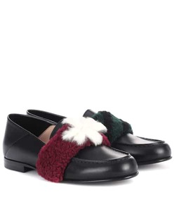 Fendi Fur-embellished leather loafers