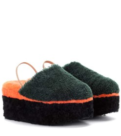 Fendi Shearling platform slippers
