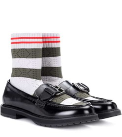 Fendi Rockoko leather sock loafers