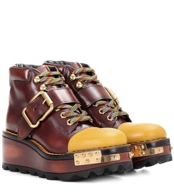 Prada Leather platform boots