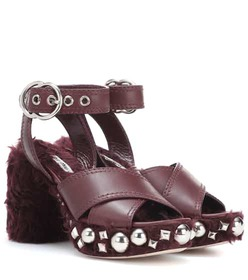 Miu Miu Leather and faux fur sandals