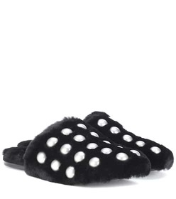Alexander Wang Amelia studded fur slippers