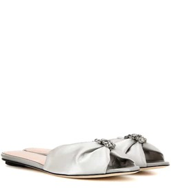 Oscar de la Renta Satin slip-on sandals