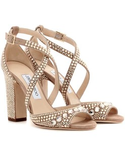 Jimmy Choo Carrie 100 glitter-embellished leather