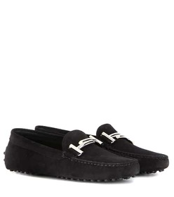 Tod's Gommino Double T embellished suede loafers