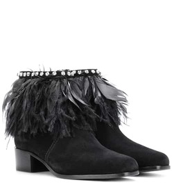 Miu Miu Feather-trimmed suede ankle boots