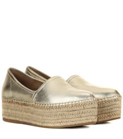 Miu Miu Metallic leather platform espadrilles