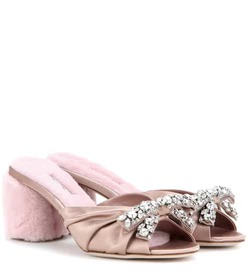 Miu Miu Embellished satin and shearling sandals