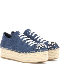Miu Miu Embellished denim espadrille sneakers