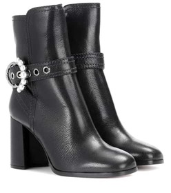 Miu Miu Embellished leather ankle boots