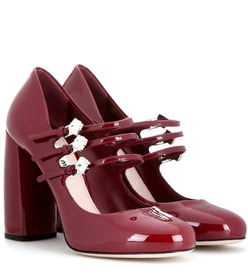 Miu Miu Embellished patent leather pumps