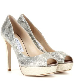 Jimmy Choo Dahlia glitter peep-toe pumps