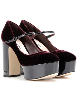 Miu Miu Velvet and patent leather platform pumps
