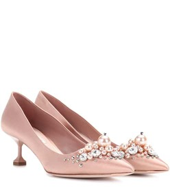 Miu Miu Satin kitten-heel pumps