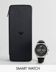 Emporio Armani Connected Leather Smart Watch In Bl