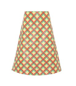 Miu Miu Plaid leather skirt