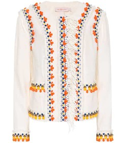 Tory Burch Eleanor embellished linen jacket
