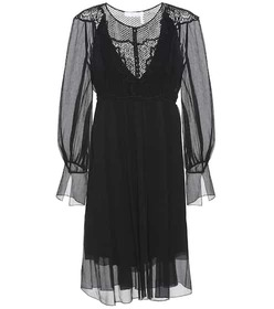 Chloé Lace-panelled silk dress