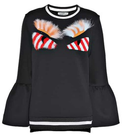Fendi Fur-embellished cotton-blend sweatshirt