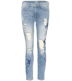 7 For All Mankind The Ankle Skinny embroidered jea