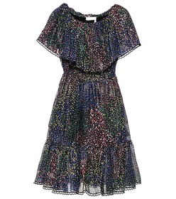 Chloé Printed cotton and silk-blend crepon dress
