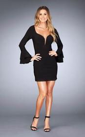 La Femme - Ruffled Long Sleeve Sheath Dress 25366