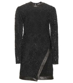 Tom Ford Leather-trimmed lace minidress