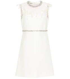 Miu Miu Crystal and feather embellished dress