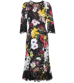 Dolce & Gabbana Lace-trimmed floral-printed dress