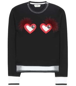 Fendi Leather and fur-embellished sweatshirt
