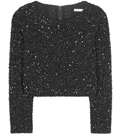 Alice + Olivia Lacey embellished cropped top