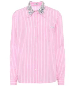 Miu Miu Crystal-embellished cotton shirt