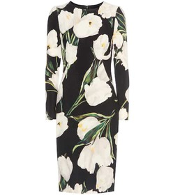 Dolce & Gabbana Floral-printed wool-crêpe dress