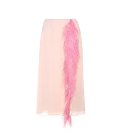 Prada Feather-trimmed silk skirt