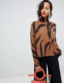 Whistles funnel neck sweater in tiger print