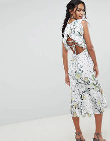 Hope & Ivy Floral Printed Open Back Ruffle Detail