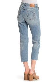 True Religion High Rise Starr Cropped Straight Jea
