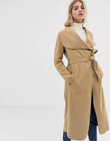 Brave Soul belted coat with oversized lapel