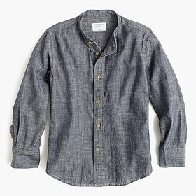 J. Crew Boys' band-collar shirt in blue chambray