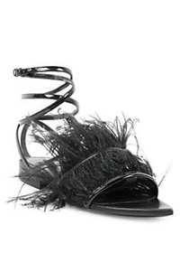 Saint Laurent Era Feather Ankle Strap Flats BLACK