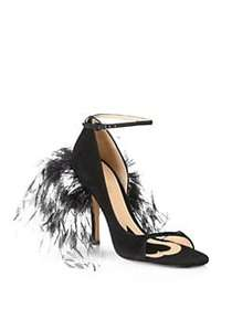 Valentino Garavani Suede & Feather High-Heel Sanda