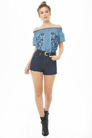 Forever21 Embroidered Chambray Off-the-Shoulder To