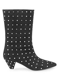 Attico Crystal Studded Suede Boots BLACK