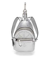 Fendi Mini Leather Backpack Charm SILVER